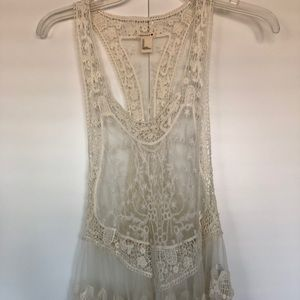 Forever 21 Cream Lace Top